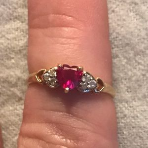 10K Yellow Gold/Lab Ruby/CZ Ring SZ 6.5